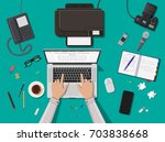 writer or journalist workplace. ... | Shutterstock .eps vector #703838668