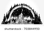 mountain antique compass and... | Shutterstock .eps vector #703844950