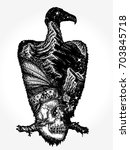 vulture tattoo art. indian... | Shutterstock .eps vector #703845718