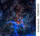 Small photo of Mystic Mountain. Region in the Carina Nebula imaged by the Hubble Space Telescope. Stars inside the pillar fire off gas jets streaming from towering peaks. Elements of this image furnished by NASA.