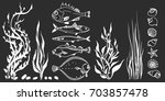 set of white sea fish  seaweed  ... | Shutterstock . vector #703857478