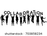 people silhouettes holding... | Shutterstock .eps vector #703858234