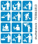 mason worker icons set. vector... | Shutterstock .eps vector #703861813