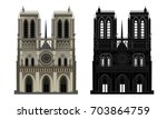 notre dame cathedral  and... | Shutterstock .eps vector #703864759