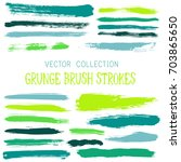 vector paint brush spots ... | Shutterstock .eps vector #703865650