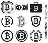 bitcoin icon set. vector... | Shutterstock .eps vector #703874908