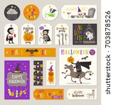 set of halloween gift tags and... | Shutterstock .eps vector #703878526