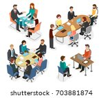 employees of the office team... | Shutterstock .eps vector #703881874
