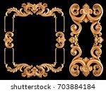 gold frame on a black...   Shutterstock . vector #703884184