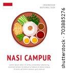 nasi campur. national... | Shutterstock .eps vector #703885276