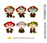 cute baby characters emotions... | Shutterstock .eps vector #703885720