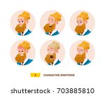 characters avatars emotion in... | Shutterstock .eps vector #703885810