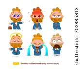 cute baby characters emotions... | Shutterstock .eps vector #703885813
