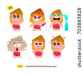 cute baby characters emotions... | Shutterstock .eps vector #703885828