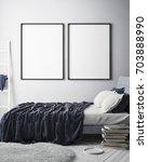 mock up poster frame in hipster ... | Shutterstock . vector #703888990