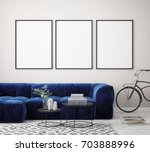 mock up poster frame in hipster ... | Shutterstock . vector #703888996