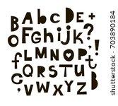 vector funny cartoon alphabet... | Shutterstock .eps vector #703890184