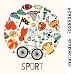 sport fitness background hand... | Shutterstock .eps vector #703891624