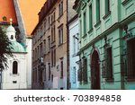 BRATISLAVA, SLOVAKIA - AUGUST 9, 2017: A colorful empty street in the old town  - stock photo
