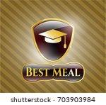 gold emblem with graduation...   Shutterstock .eps vector #703903984