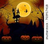 halloween background. dark... | Shutterstock .eps vector #703917418