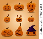 funny and scary pumpkin for... | Shutterstock .eps vector #703917424