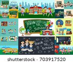 back to school set of... | Shutterstock .eps vector #703917520