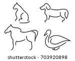 Stock vector animal pictogram set 703920898