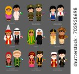 people in national dress.... | Shutterstock .eps vector #703928698
