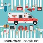 human organ for transplantation ... | Shutterstock .eps vector #703931104