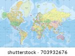 political world map in mercator ... | Shutterstock .eps vector #703932676