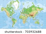 Physical World Map In Mercator...