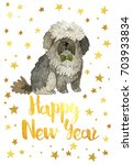 happy new year  2018. card with ... | Shutterstock . vector #703933834