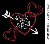 hearts and arrow girls t shirt... | Shutterstock .eps vector #703934410