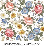 Stock vector seamless pattern beautiful fabric blooming realistic isolated flowers vintage background set 703936279