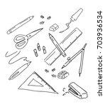 school items vector doodle set... | Shutterstock .eps vector #703936534