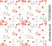 red little flowers on white.... | Shutterstock .eps vector #703938004