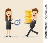 business woman holds a... | Shutterstock .eps vector #703938226
