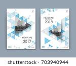 white a4 brochure cover design. ... | Shutterstock .eps vector #703940944