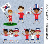 set of boys with national flags ... | Shutterstock .eps vector #703952770