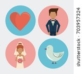 white background with wedding... | Shutterstock .eps vector #703957324