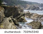 Dramatic shoreline with strange rock formations at Shore Acres State Park, Coos Bay, Oregon