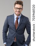 elegant man wear glasses  | Shutterstock . vector #703968520