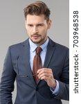 elegant man wear glasses  | Shutterstock . vector #703968538