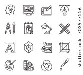 Art, drawing and web and graphic design icons set. Line Style stock vector.
