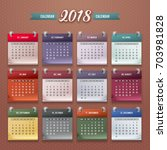 design of wall monthly calendar ... | Shutterstock .eps vector #703981828