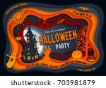 Stock vector halloween night background with pumpkin haunted house and full moon paper art carving style 703981879