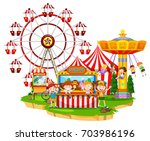 happy children at circus... | Shutterstock .eps vector #703986196