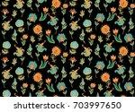 seamless ornamental  vector... | Shutterstock .eps vector #703997650