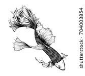 koi fish tattoo by hand drawing.... | Shutterstock .eps vector #704003854